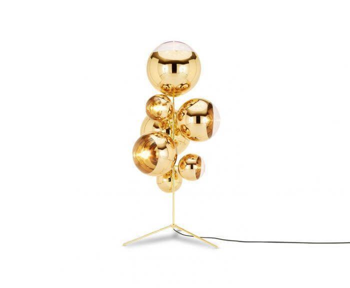Mirror Ball Stand Chandelier Gold Floor Lamp